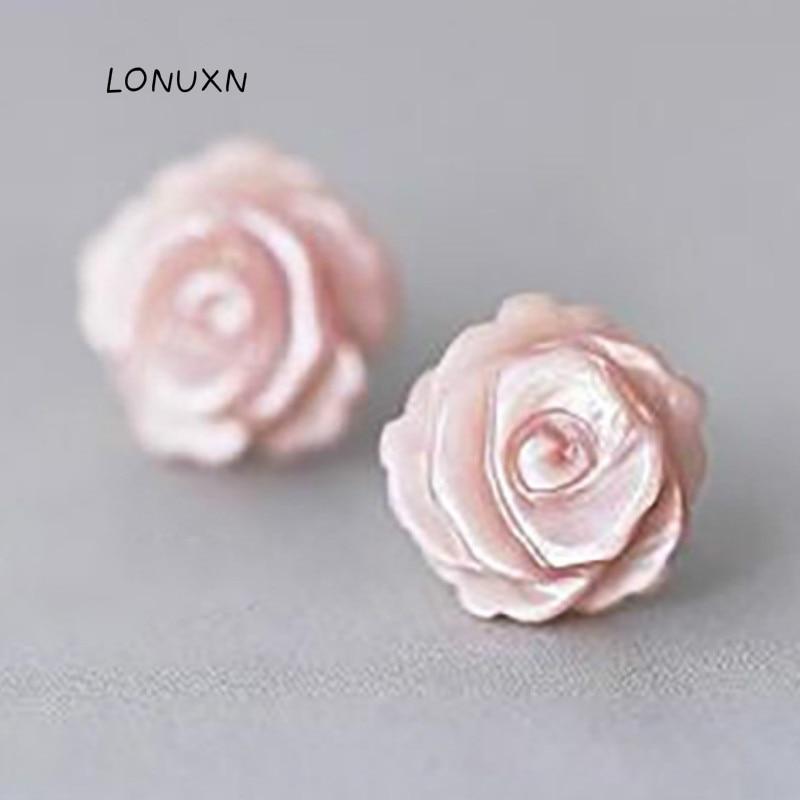 925 Sterling Silver Rose Stud Earrings Design 4