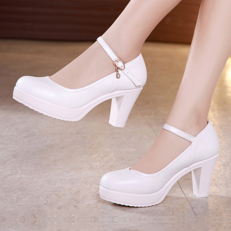 Round Toe Black Block Heels Women Pumps Split Leather Shoes Dance High Heels Shoes Platform Pumps Crystal For Party Work ShoesRound Toe Black Block Heels Women Pumps Split Leather Shoes Dance High Heels Shoes Platform Pumps Crystal For Party Work Shoes