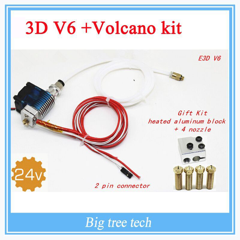 3D Printer J-head Hotend with  Fan for 1.75/3.0mm 24 v 3D v6 bowden Filament Wade Extruder 0.2/0.3/0.4mm Nozzle+Volcano kit