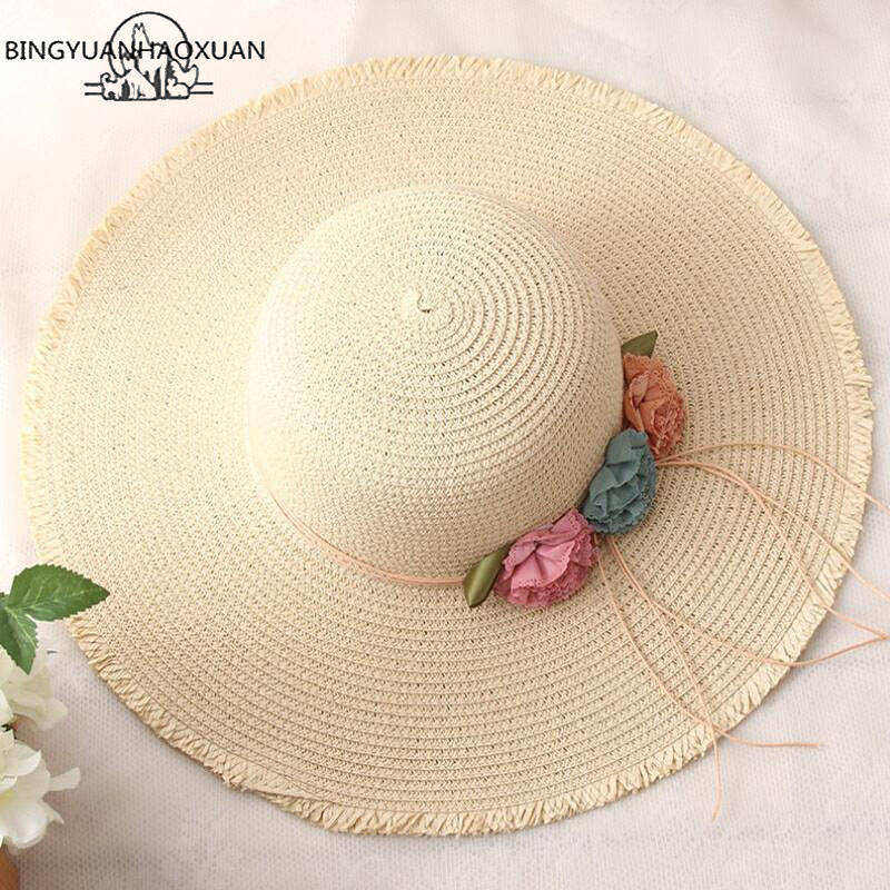 BINGYUANHAOXUAN 2018 Hot Big Brim Sun Hats for Parent Child Models Foldable Straw Hat Female Casual Ombre Summer Hat Beach cap in Hats Caps from Mother Kids