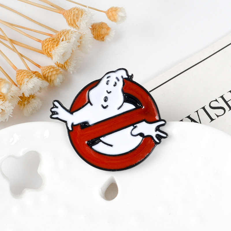 Mingqi Ghostbusters Enamel Pin Hantu Putih Lencana Bros Tas Pakaian Kerah Pin Kartun Menyenangkan Film Perhiasan Hadiah untuk Penggemar Teman