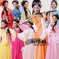 Chino antiguo Traje Chino Tradicional Hanfu Dinastía Qing Traje Nacional Chino Danza Trajes De Los Niños de Las Mujeres