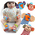 2pcs Soft Baby Toy Wrist Strap Socks Cute Cartoon Plush Rattle Toys With Ring Bell -- BYC070 PT20