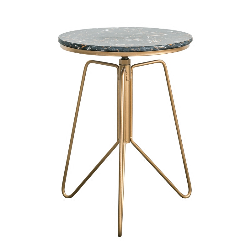 Marble End Table Metal Legs Height Adjusted Round Coffee Table end table