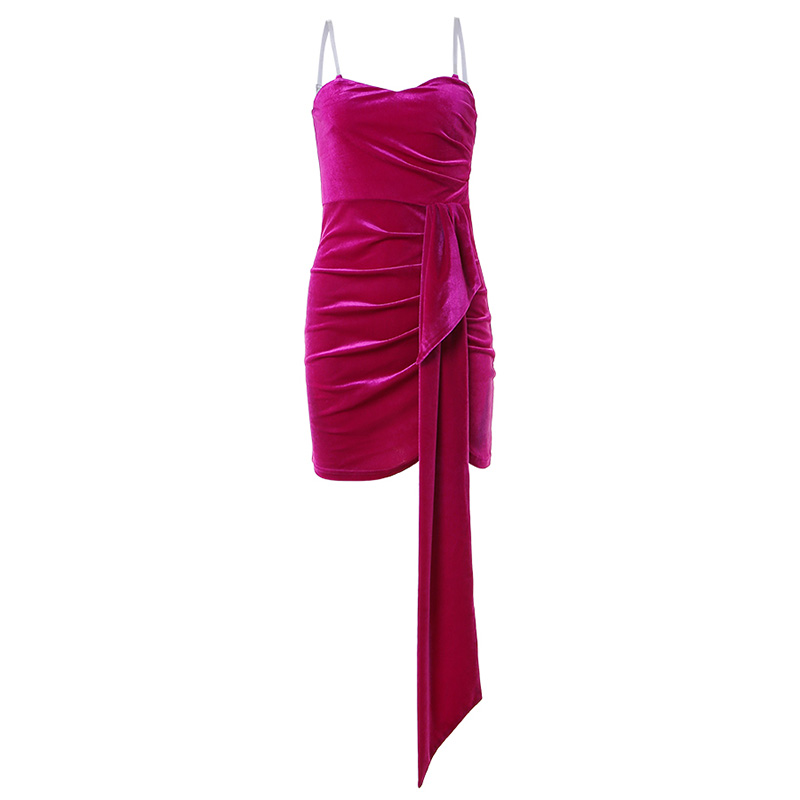 WannaThis Sexy Velvet Party Dress V Neck Strap Dress Ruched Women Sheath Bodycon Mini Dresses Lace Up Backless Elegant Dress in Dresses from Women 39 s Clothing