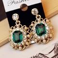 2016 New Arrival Trendy Women Brincos Original Design Hot Sale Fashion Pearl Accessories Rhinestone Gem Female Stud Earrings