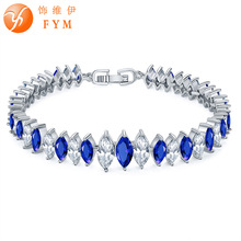 FYM Brand Blue AAA Cubic Zircon Bracelets & Bangles Fashion Silver color/Rose gold color Women Bracelet Jewelry Gift FYMBR0180 fym round bracelet silver rose gold color clear aaa cubic zirconia bracelet chain cz bracelet women 18cm jewelry accessories