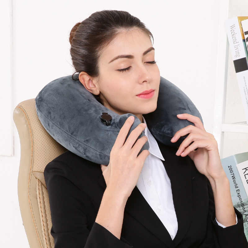 U-Shape Automatic Inflatable Travel Pillow Neck Pillow Folding Portable Inflatable Pillows Neck Cushion Travel Headrest