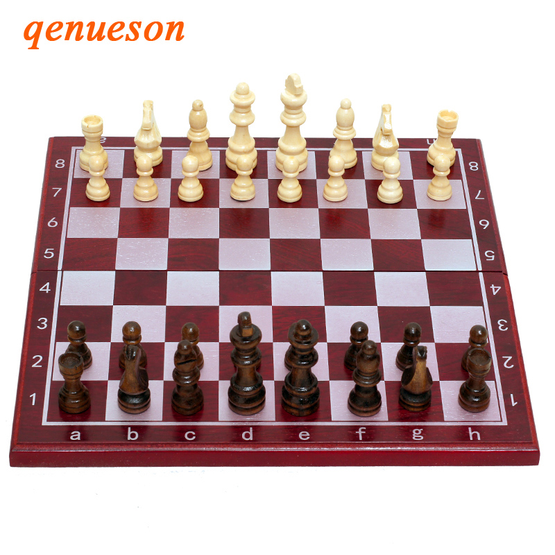 High Quality Folding Chess Pieces Birch Wood Professional Chess Board Family Games Natural Safe Paint Traditional Chess Set Gift