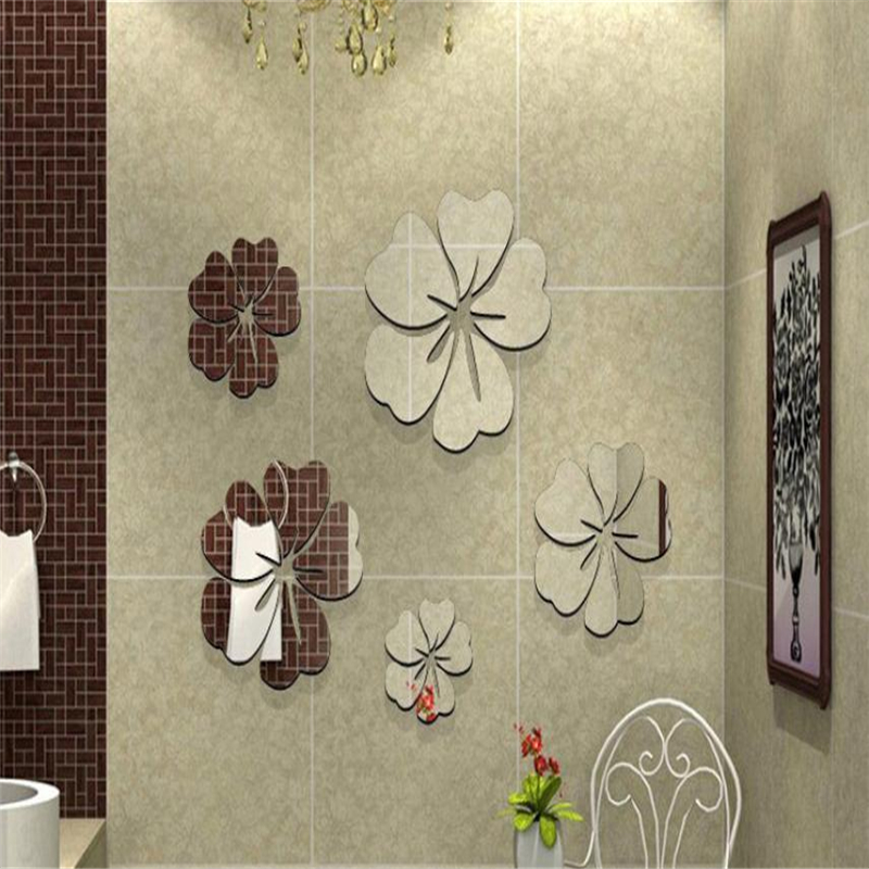 3D Mirror Wall Stickers Nice Home Decoration 5 Flowers Sticker Decor DIY Waterproof Resistant Home Decor HOT C0312#30