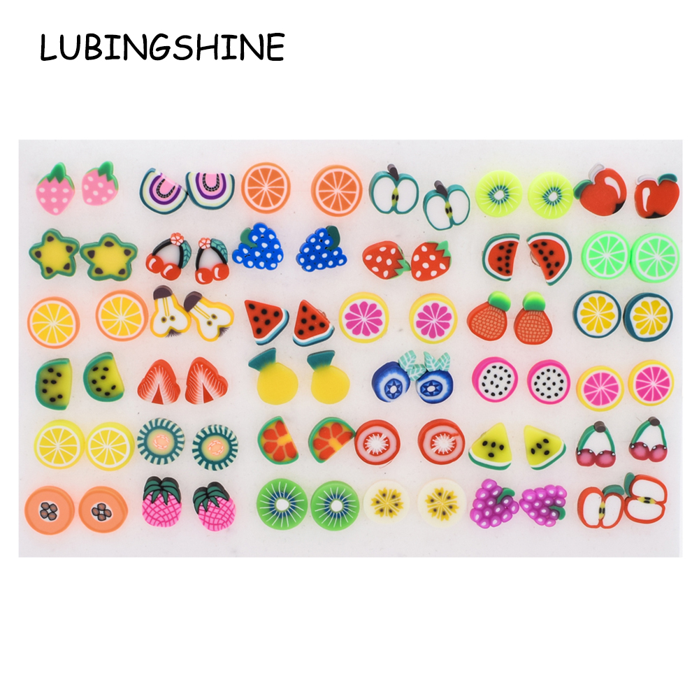 Women Small Stud Earrings Sets Acrylic Girl Child Gold Black Fruit Earring Jewelry Party Birthday Christmas Gift 36 pairs/lot