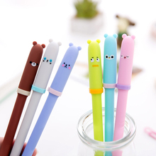 1 Pcs/lot Cute Korean Creative Animal Expression Cap Gel Black Pen For School Writing Office Supplies Stationery