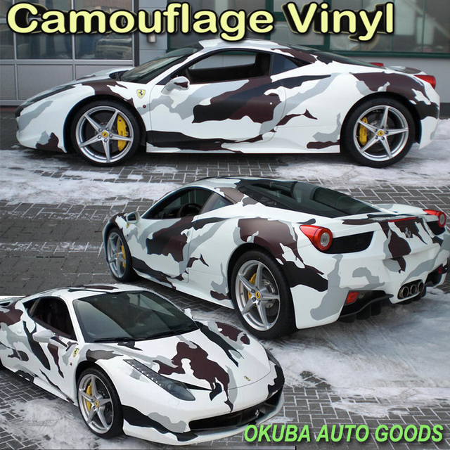 50cd2dbb Black White Snow Arctic Camo Vinyl Camouflage Vinyl Film Car Wrapping Foil  Camouflage Film Truck Vinyl Wrap 1.52*30m/roll