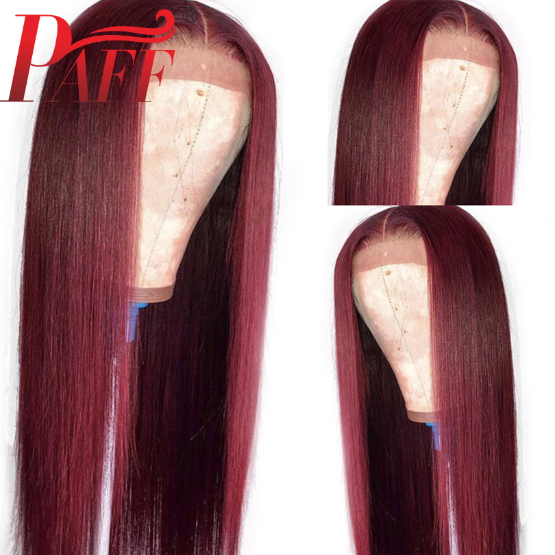 PAFF Custom 99J Long Wig 24 26 28 30 Inch Lace Front Human Hair Wigs With Baby Hair Red Brazilian Transparent Lace
