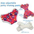 Size adjustable cloth potty training pants with organic bamboo inner, waterproof cloth diaper for Toddler 18 months to 3 years