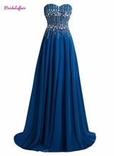 KapokBanyan Real Photo Blue Crystal Sweetheart Prom Dresses 2017 Custom made Sweep Train Beads Formal Party Gown Robe de soiree