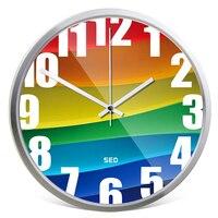 Rainbow Color Wall Clock Personality Hanging Clocks Creative Modern Livingroom Mute Clock Hanging Watch Metal Quartz