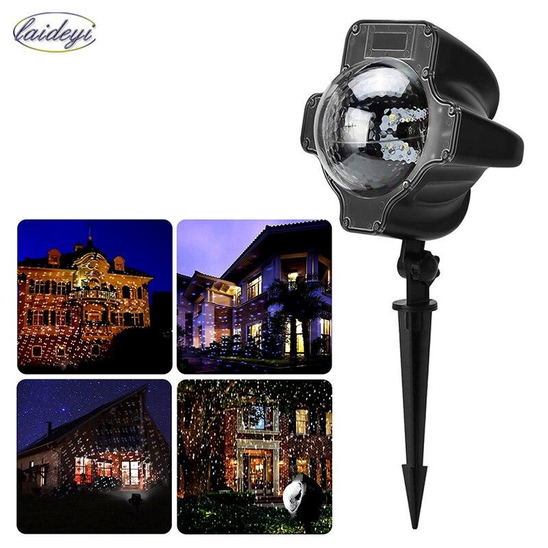 Laideyi LED лазерный проектор света Водонепроницаемый Рождество снежинки Дистанционное управление Сценическое Освещение DJ Освещение