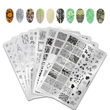 1Pcs Dry Flowers Nail Stamping Template Plates Geometry Waves Image Rectangle Art Stamp Plate Manicure Stencils Tools