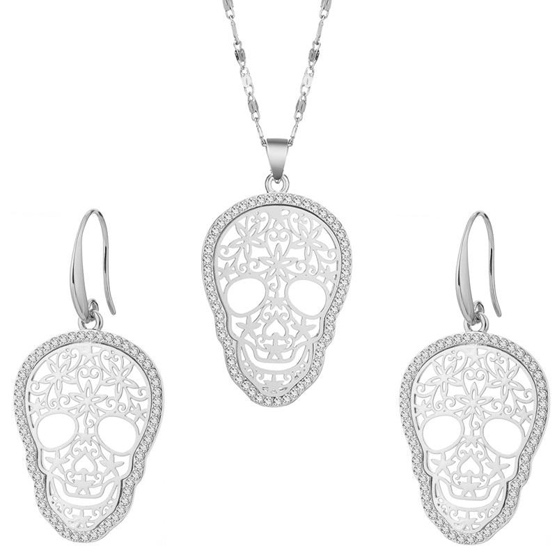Silver Crystal Skeleton Shantou Choker Necklace Set Punk Skeleton Pendant Necklace Earring Set