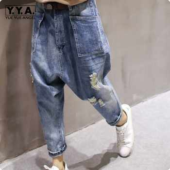 2019 Autumn New Arrival Womens BF Style Drop-crotch Harem Denim Cowboy Carpenter Hole Ripped Jeans Loose Fit Long Pants - DISCOUNT ITEM  22% OFF All Category