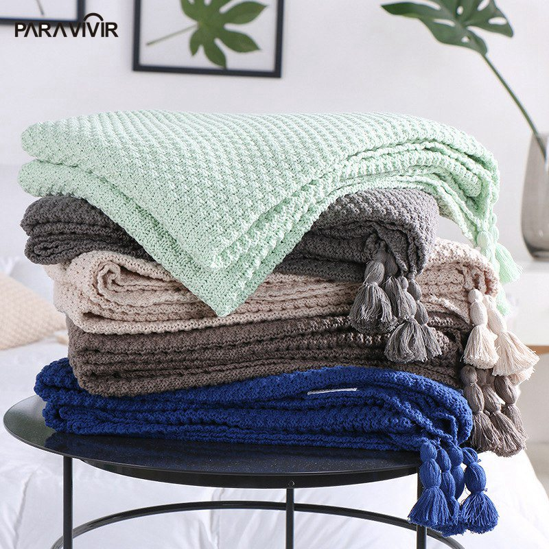 PARA VIVIR Fashion Tassel Knitted Blanket 100% Cotton Super Soft Sleeping Bed  Blanket Throw on Sofa/Bed/ Travel Plaid Bedspread thicken soft knitted sleeping bag kids wrap mermaid blanket