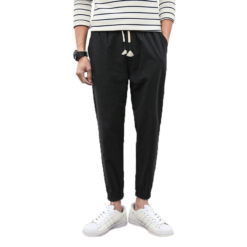 Harem Pants Nine-Points Street-Clothing Linen Japanese Male Men's New Original Slim Harajuku