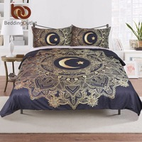 BeddingOutlet 3 Pcs Gold Mandala Flowers With Star Moon Duvet Cover Set With Pillowcase Dark Blue