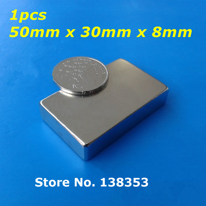1pcs Bulk Super Strong Neodymium Rectangle Block Magnets 50mm x 30mm x 8mm N35 Rare Earth NdFeB Rectangular Cuboid Magnet strong 1 2 1 5 1 8