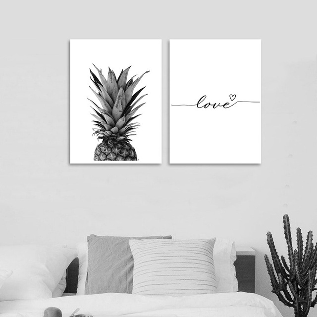 Pinele Wall Art Canvas Posters Prints Nordic Love Quote Paintings Black White Picture For Living