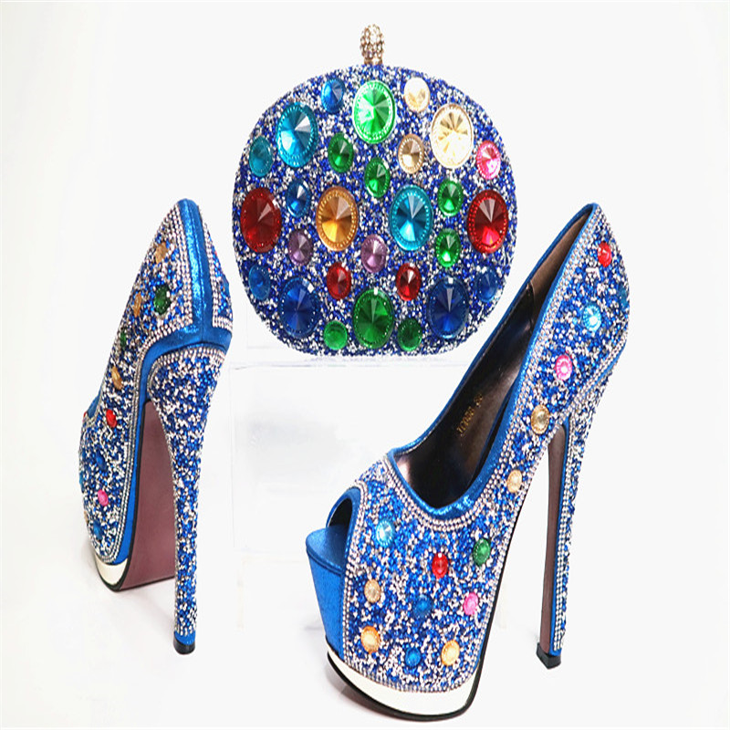 G29 Blue New Arrival European Style Shoes And Bag For Wedding Luxury Crystal Woman Hhig Heels Sexy Lady Pumps Matching Bag