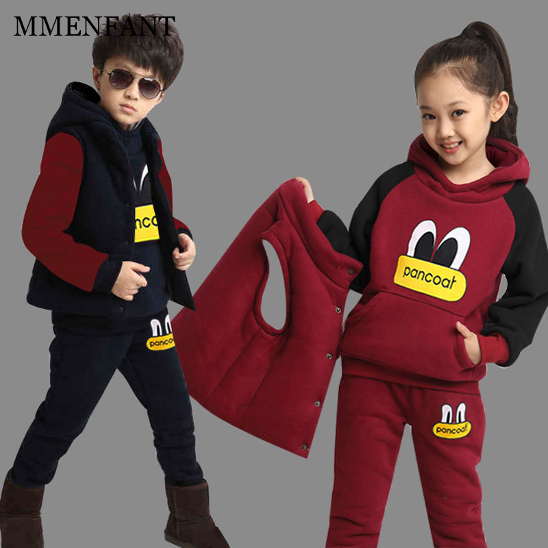 Boys and girls Clothing Set  child Thicker suit Children big eyes Hooded Jacket+vest+Pants 3PCS Winter Kids Sports Clothes Set toddler girls clothing set batman suit boys hooded jacket pants suit set children sport suits spring kids tracksuit boy clothes