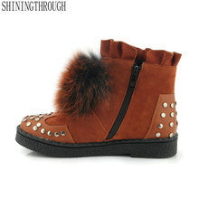 2019 women fashion real fur ankle snow boots round toe 3cm l