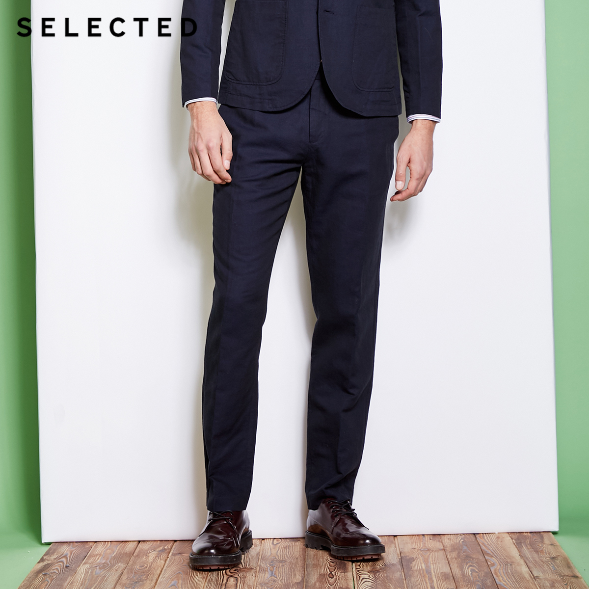 SELECTED Cotton linen blend business leisure suit pants S418218504-in Suit Pants from Men's Clothing    1