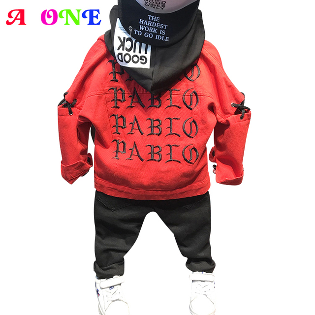 35b9262aa US $18.91 39% OFF|Autumn Spring letter embroidery tape patch baby boys  denim jacket kids designer coat children fashion outwear 2 to 7 yrs-in  Jackets ...