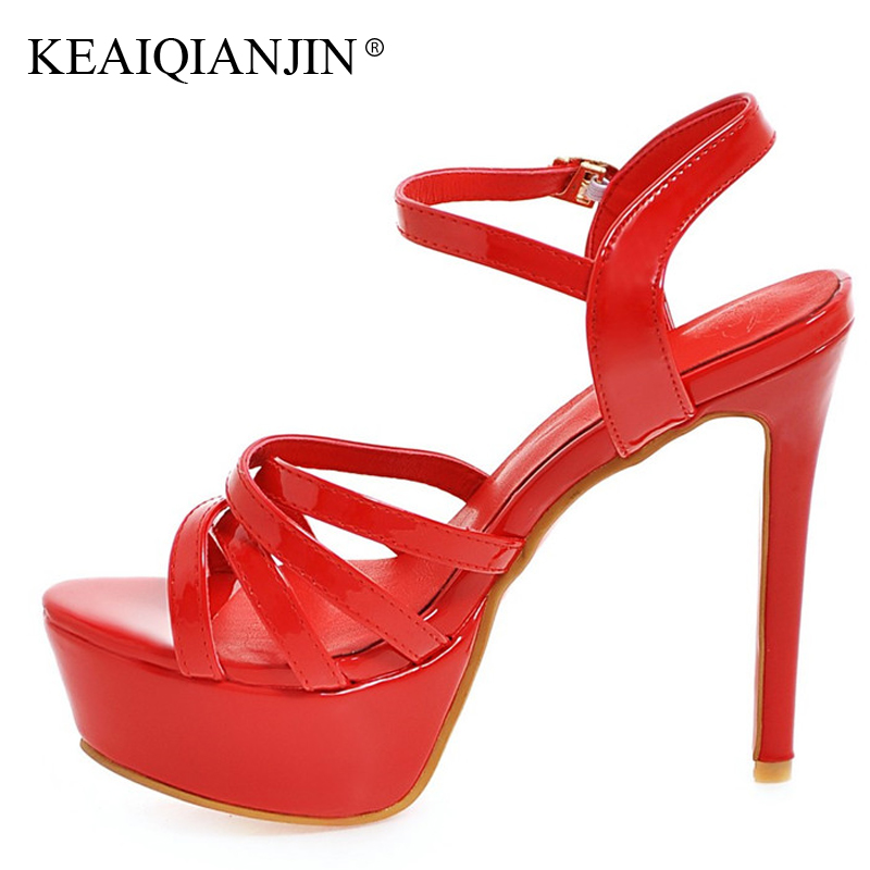 KEAIQIANJIN Woman Ultra High Heels Sandals Fashion Sexy White Red Black Shoes Plus Size 33 - 48 Buckle Strap Wedding Sandals