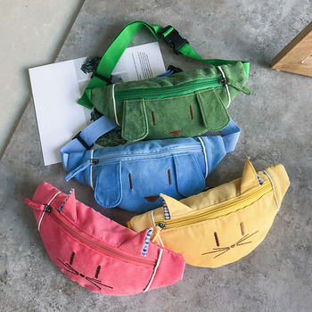 20PCS / LOT Childern Kids Cat Print Waist Packs Women Casual  Corduroy Adjustable Shoulder Chest Belt Bag Ladies Fanny Packs