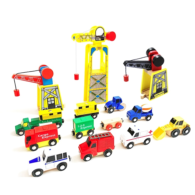 Magnetic Wooden Crane House Wood Thomas Train Crane Railway Accessories DIY Educational Toys Compatible Original Wooden Track
