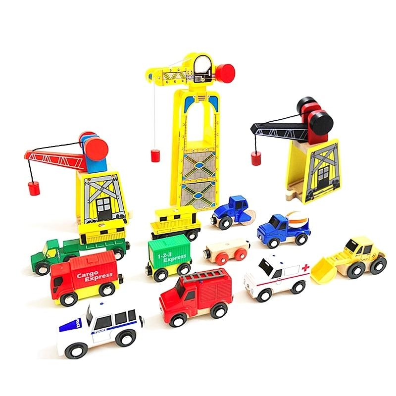 Magnetic Wooden Crane House Wood Thomas Train Crane Railway Accessories DIY Educational Toys Compatible Original Wooden Track
