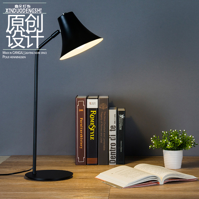 Creative modern style table lamp iron black color e27 base led creative modern style table lamp iron black color e27 base led bulb study office library reading mozeypictures Gallery