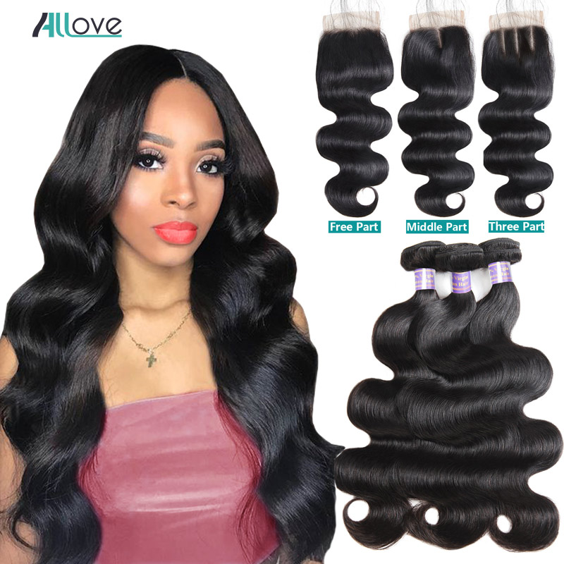 Brazilian Body Wave Bundles with Closure Human Hair Bundles with Closure Brazilian Hair Weave Bundles with