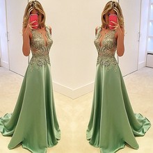 free shipping custom-made v-neck green satin a-line appliques long prom dresses 2015 New fashion hot sexy party evening gowns