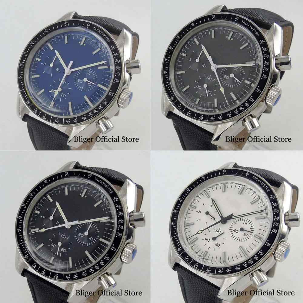 New Luxury 4 Models Automatic 40mm Men's Watch With Sterile Dial Date & Week Function Leather Strap Wristwatch