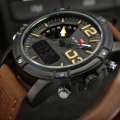 Origin Box NAVIFORCE Brand Men's Dual Display Quartz Watch Man Army Military Sports Watches Men Leather Strap relogio masculino