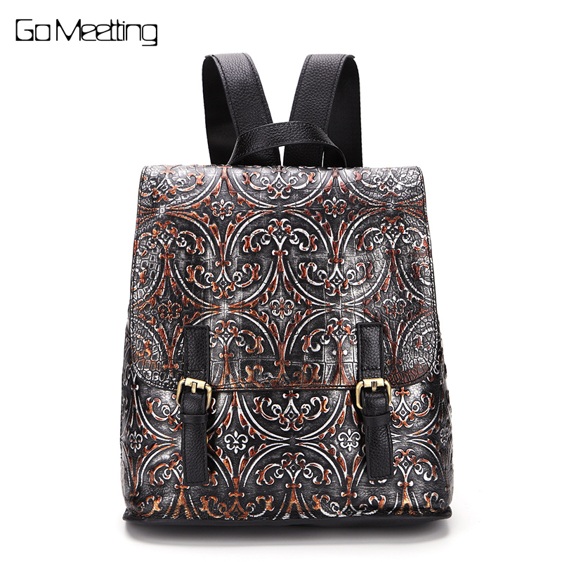 New 2017 Emboss Genuine Leather Women Backpack Vintage Cow Leather Women Bag High quality Backpacks Female Back Pack sac a dos the new high quality imported green cowboy training cow matador thrilling backdrop of competitive entrance papeles