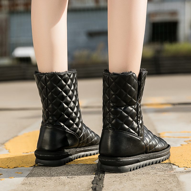Women's Winter Shoes Mid Calf Snow Boots For Female Wool High Quality Winter Boots Slip On Solid Black Fleeces Shoes For Ladies high quality new lady winter flock flat with snow boots pointed metal decoration slip on round toe mid calf solid shoes