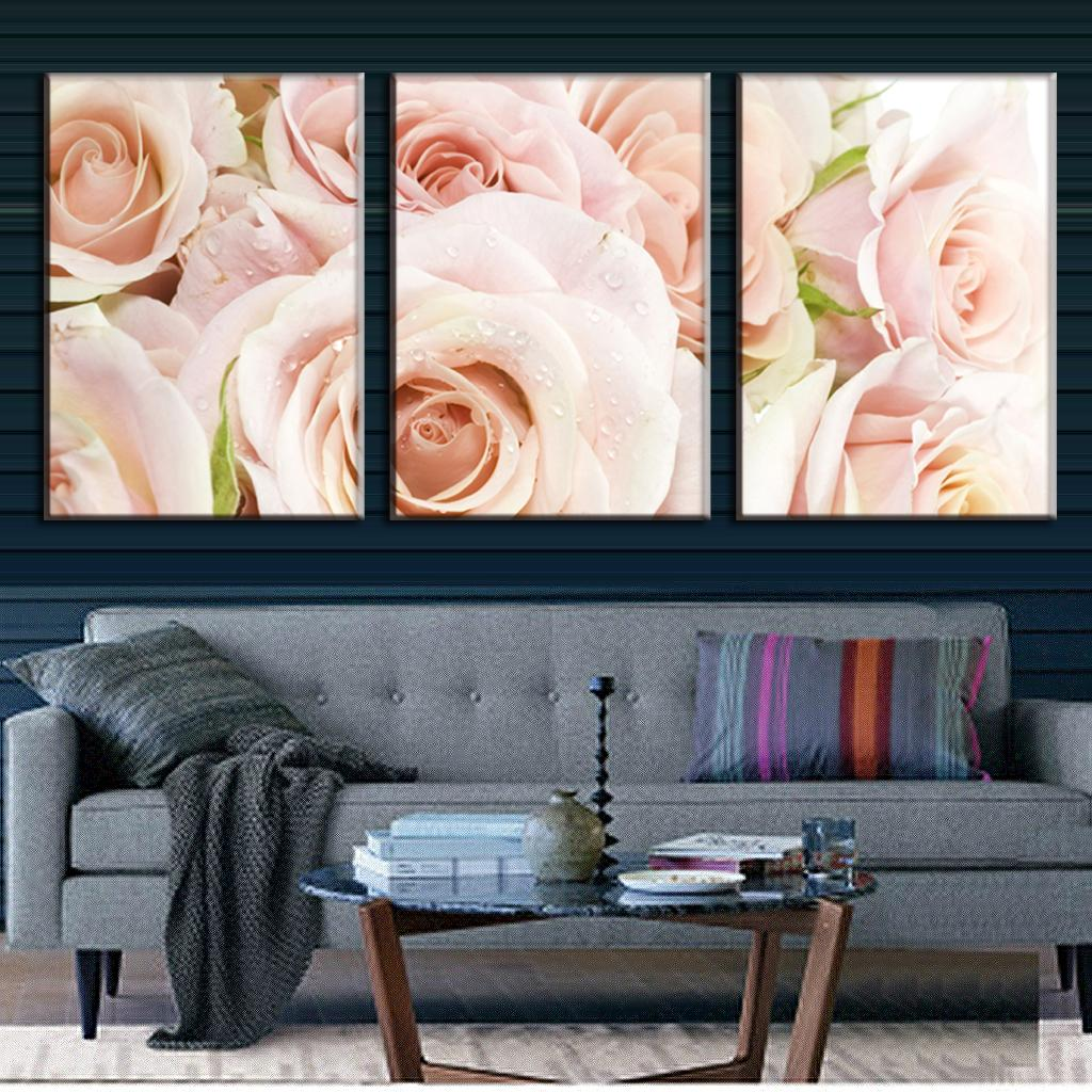 3 Pcs Set Combined Framed Flower Wall Art Modern Light Pink Roses Canvas Prints Painting For