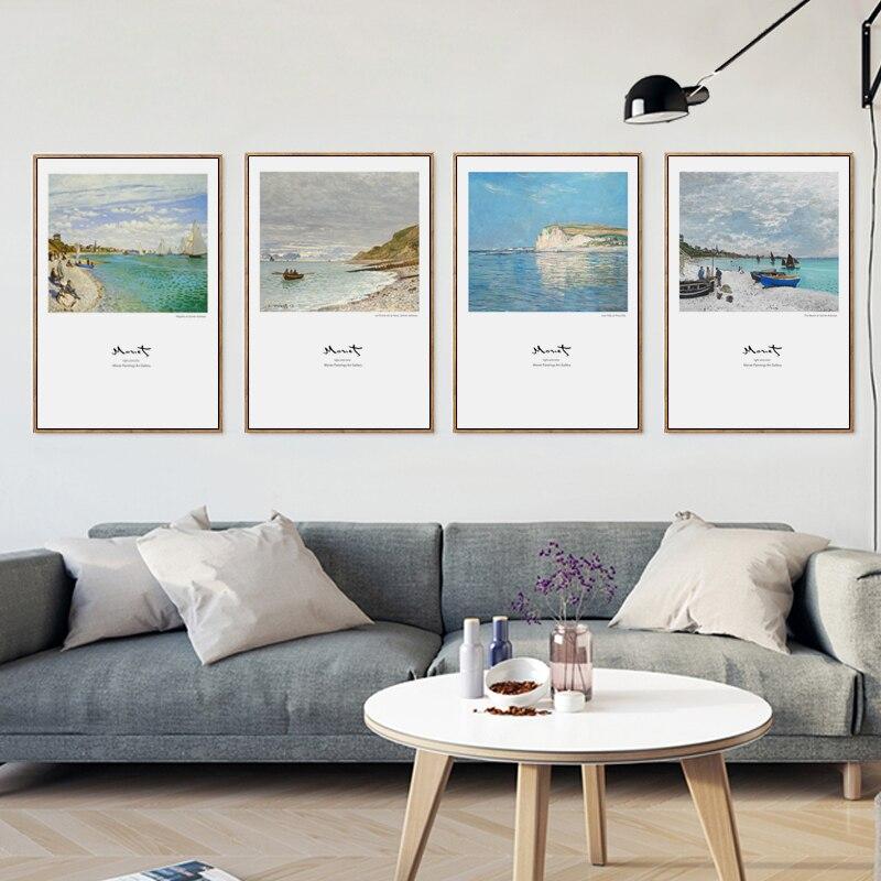 bianche pared claude monet playa cielo paisaje famoso moderna pinturas y fotos de pintura de la