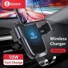 Biaze Auto Telefoon Houder 10W Qi Draadloze Autolader Voor Iphone Xs Max X Xr 8 Snelle Auto Draadloze oplader Voor Samsung Note 9 S9 S8