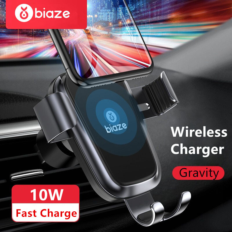 Biaze Car Mount Air Vent 10W Qi Wireless Car Charger For iPhone XS Max X XR 8 Fast Charge Phone Holder For Samsung Note 9 S9 S8